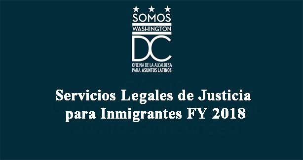 Servicios Legales de Justicia para Inmigrantes FY 2018