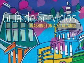 Illustration of Washington DC with the Capitol building with the text uin Spanish, Guía de Servicios